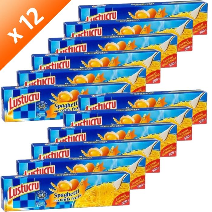 LUSTUCRU Pâtes Spaghetti Long aux Œufs 500g (x12)