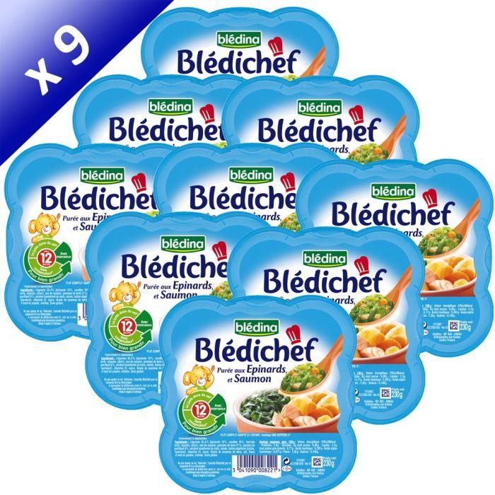BLEDICHEF Purée aux Epinards et Saumon 9x230g