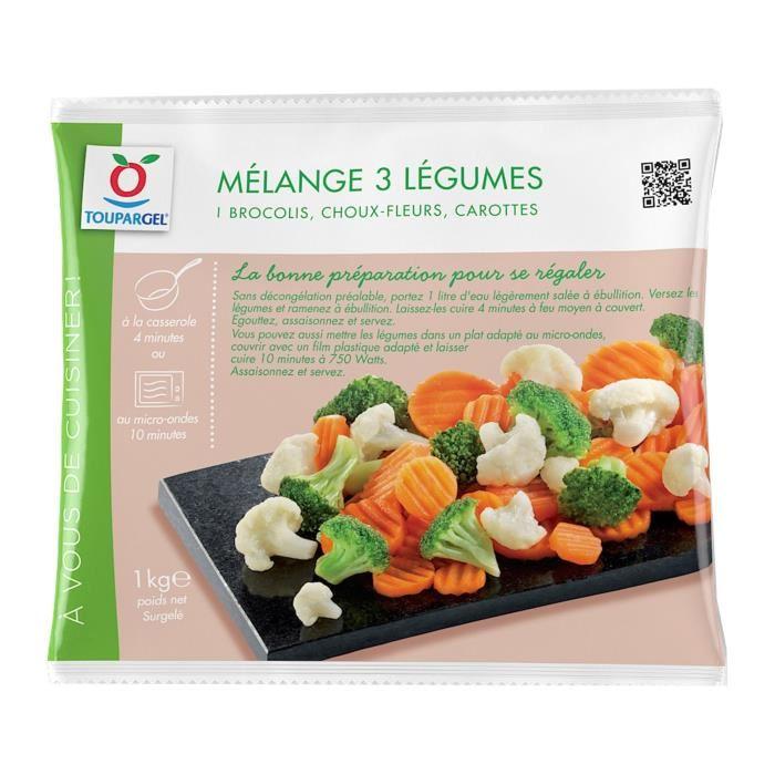 Mélange 3 légumes surgelés brocolis, choux-fleurs, carottes – 1 kg