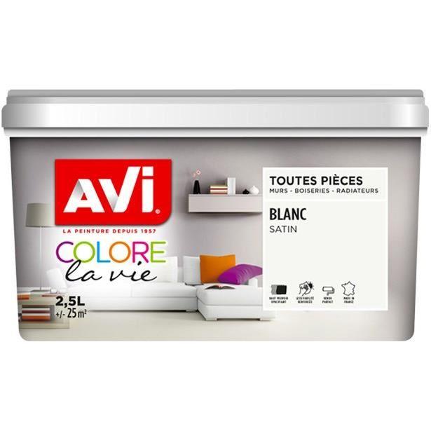 AVI Peinture murale pour toutes pièces – Blanc satin – 2,5 L